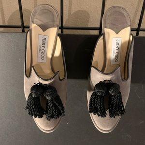 Jimmy Choo Gray Suede Heels with Black Tassels